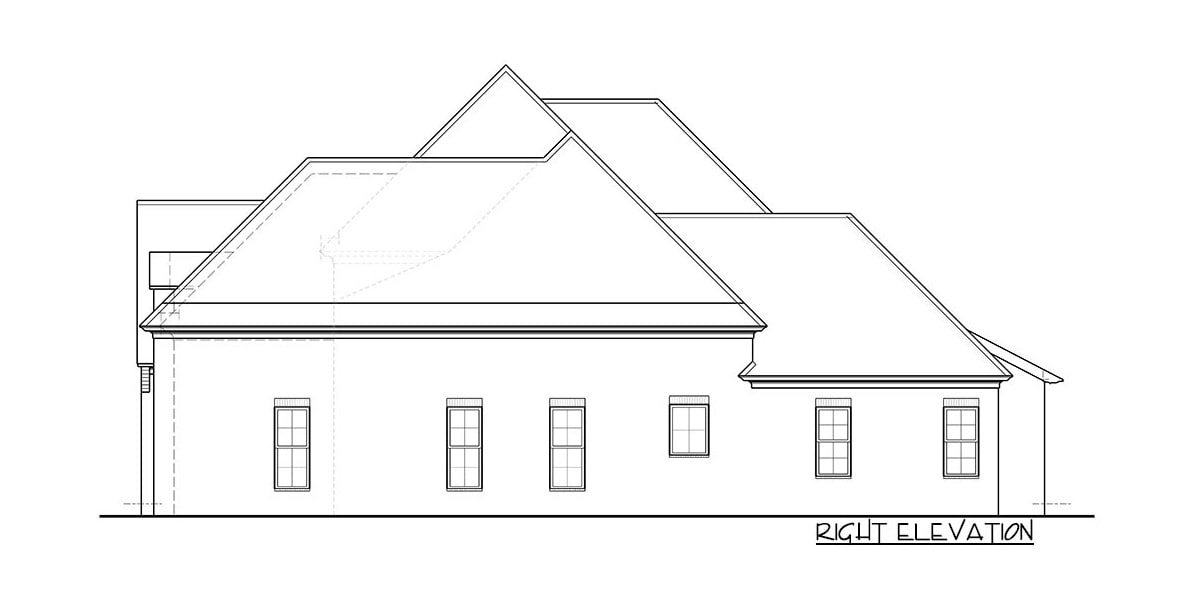 Right elevation sketch of the two-story 5-bedroom European home.
