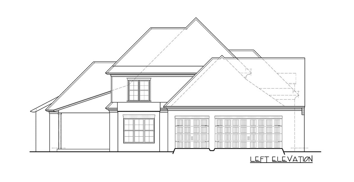 Left elevation sketch of the two-story 5-bedroom European home.