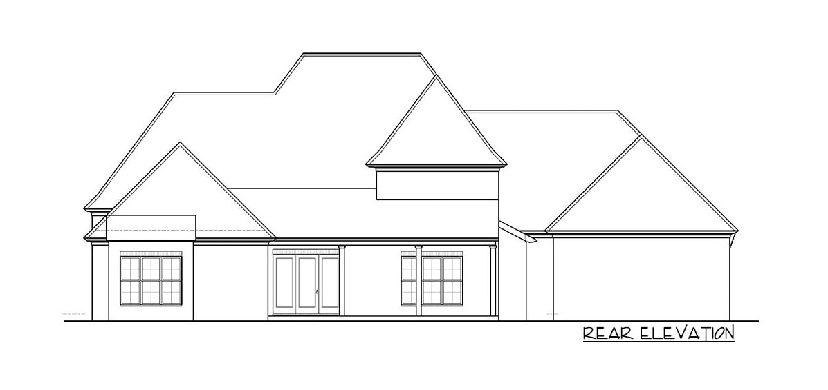 Rear elevation sketch of the two-story 5-bedroom European home.