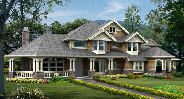 Front rendering of the two-story 4-bedroom Cedar Crest craftsman home.