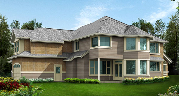 Rear rendering of the two-story 4-bedroom Cedar Crest craftsman home.