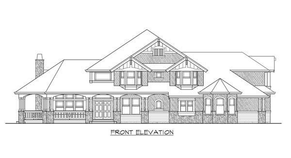 Front elevation sketch of the two-story 4-bedroom Cedar Crest craftsman home.