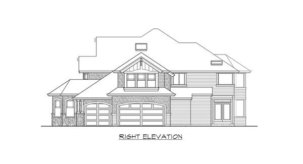 Right elevation sketch of the two-story 4-bedroom Cedar Crest craftsman home.