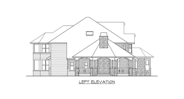 Left elevation sketch of the two-story 4-bedroom Cedar Crest craftsman home.