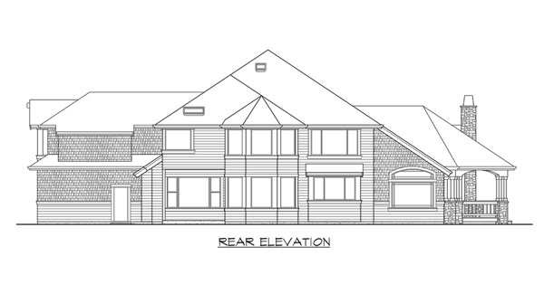 Rear elevation sketch of the two-story 4-bedroom Cedar Crest craftsman home.