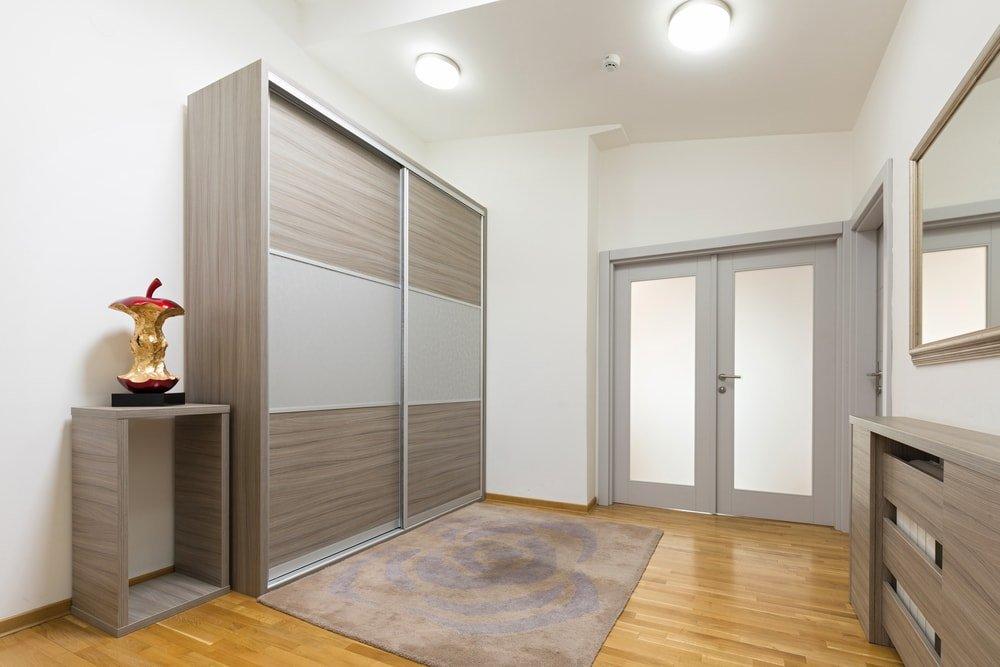 This is a look at the simple foyer with a large closet on the side with sliding doors.