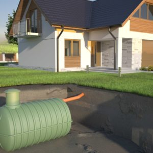 A 3D representation of an underground septic tank system placed at the yard.