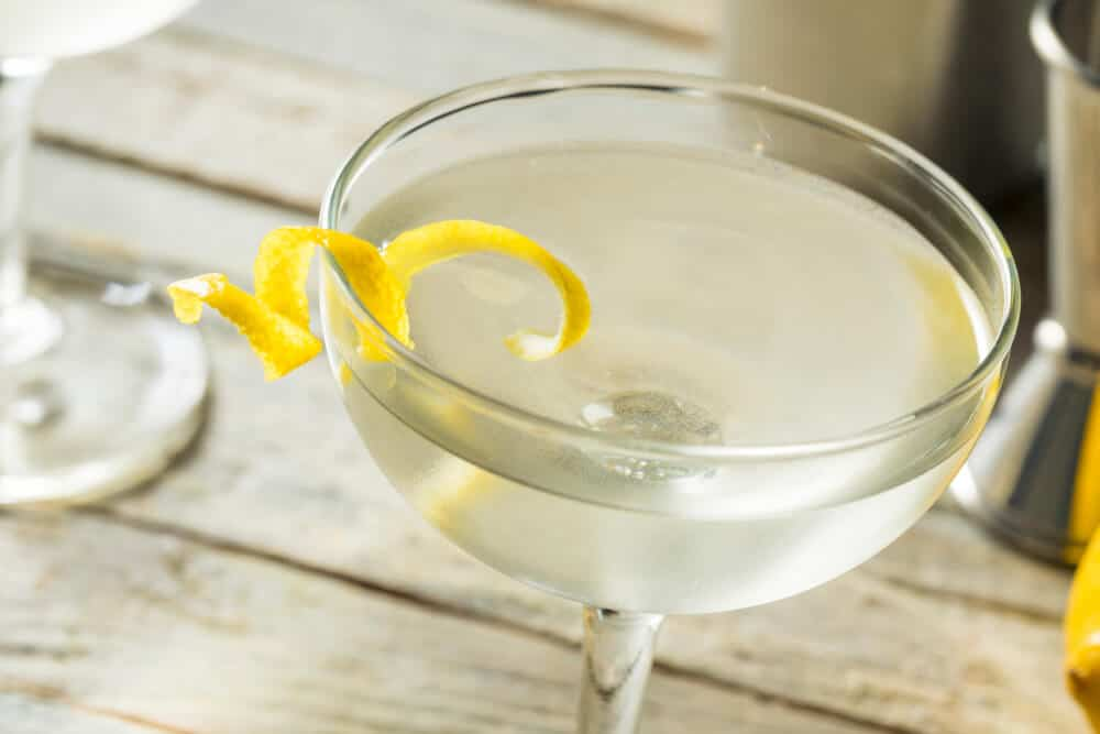 Vesper martini with a lemon garnish.