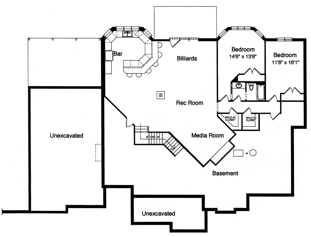 Lower level floor plan with two additional bedrooms and a recreational room complete with media room, billiards, and a wet bar.