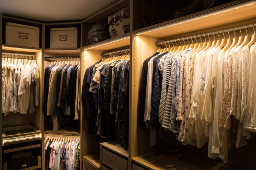 This is a look at the organized clothes on the rachs.
