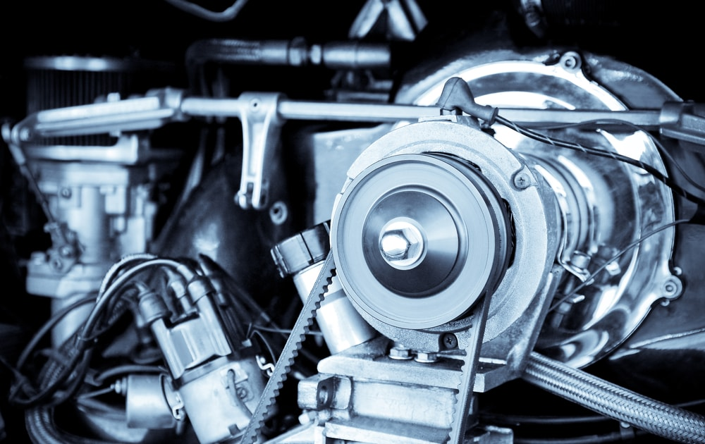 This is a close look at a 1960's vintage RV camper van engine that is beautifully restored.