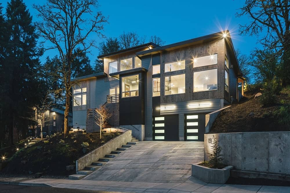Front exterior view of the 1131 Crenshaw Home with sleek and clean architectural design.