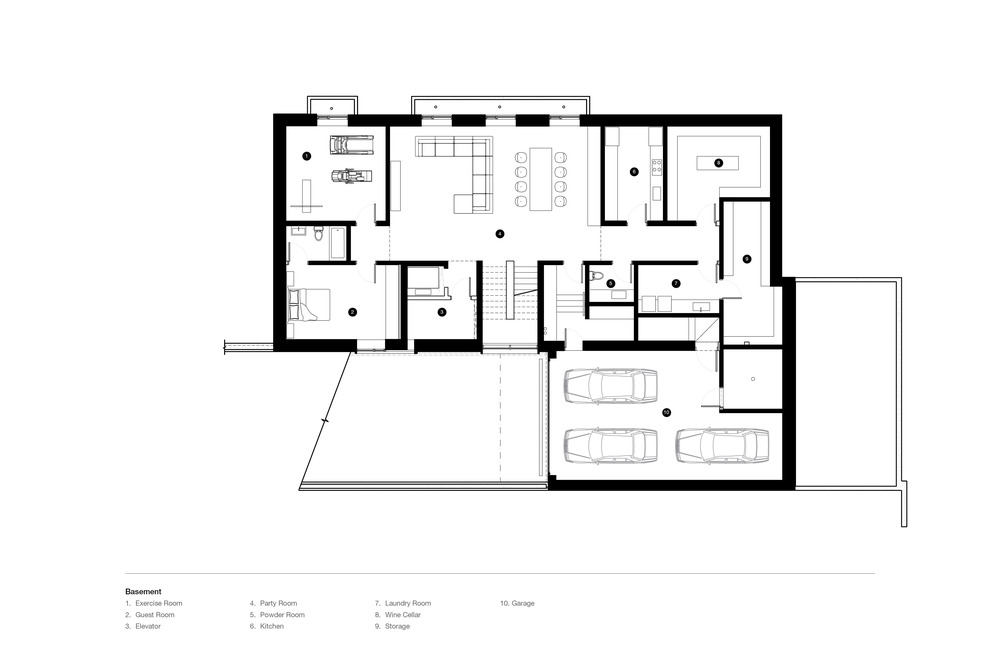 This is the floor plan for the basement showcasing the various sections like the garage and the living space.