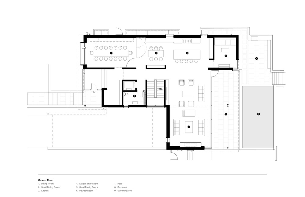 This is the floor plan for the ground floor showcasing the various sections like the dining room and living room.