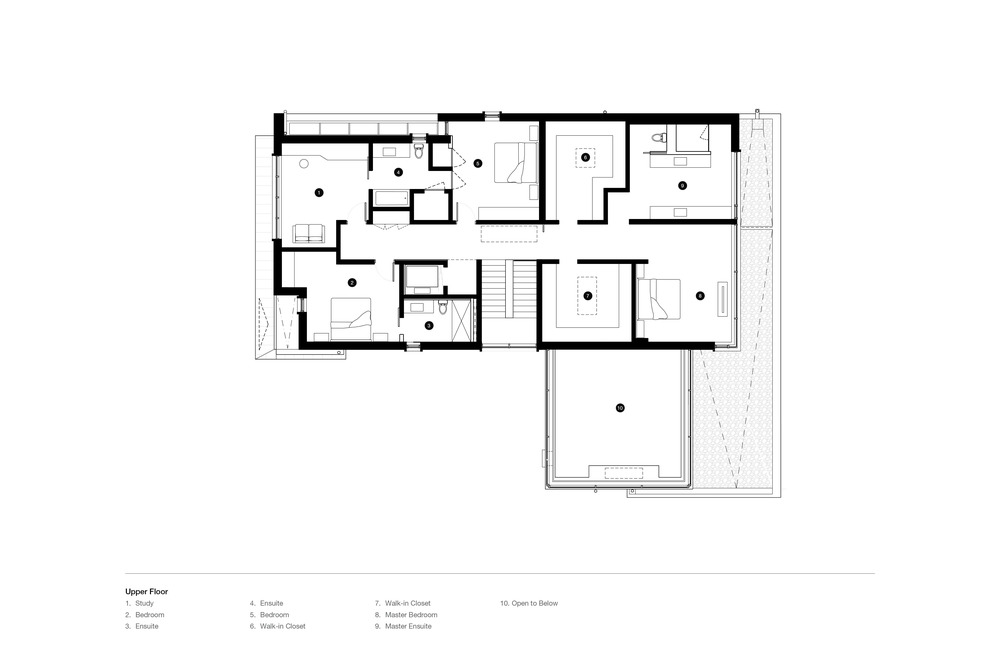This is the floor plan for the upper floor showcasing the various sections like bedrooms and bathrooms.