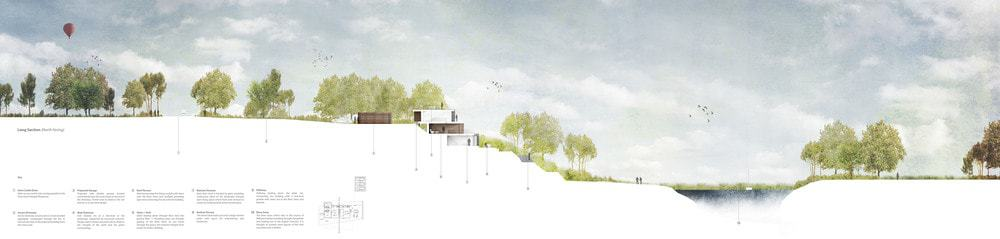 This is an illustration of the side elevation of the house that also includes the surrounding landscape.