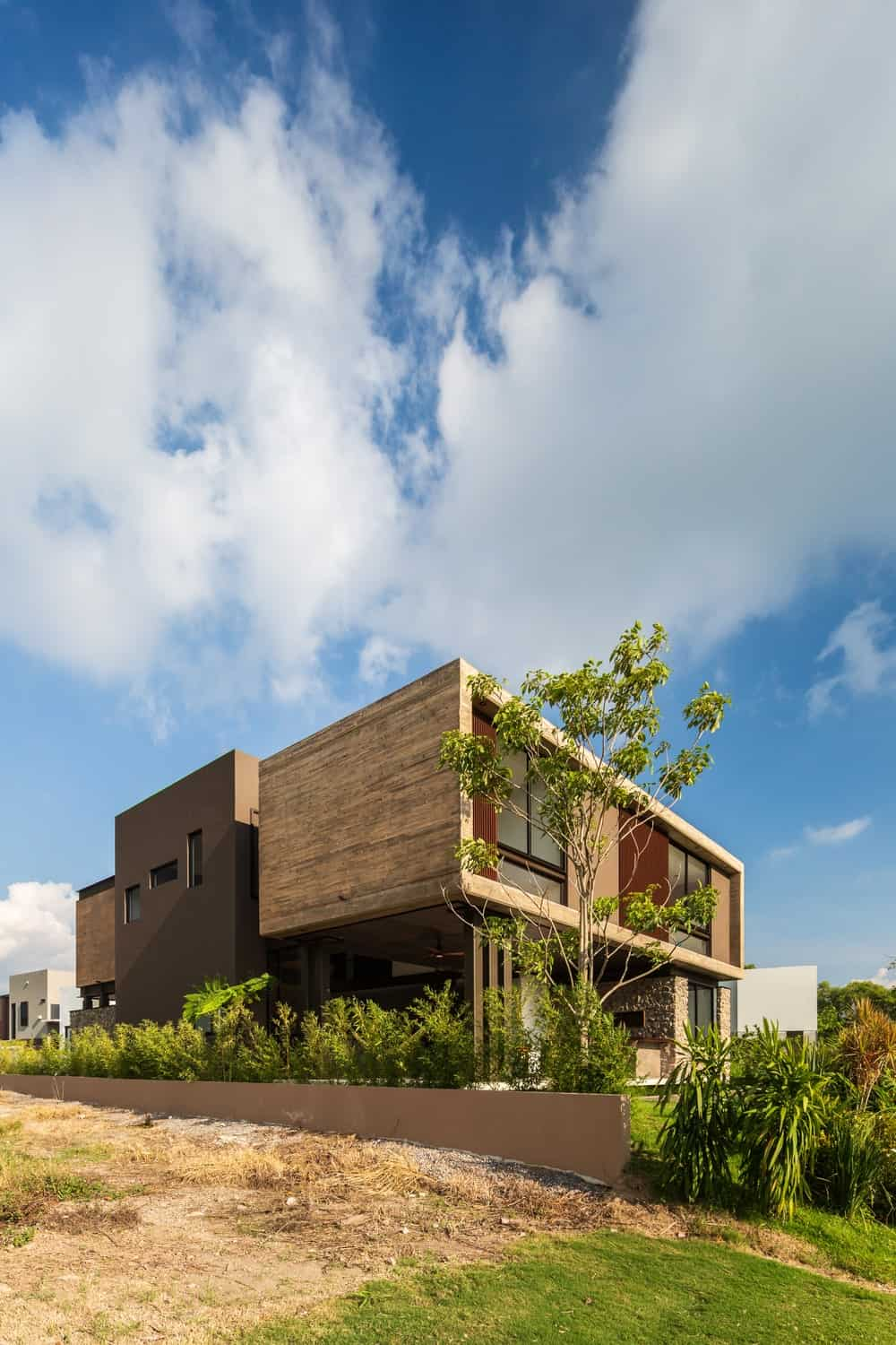 This angled side view gives a look at the back of the house and its structures.