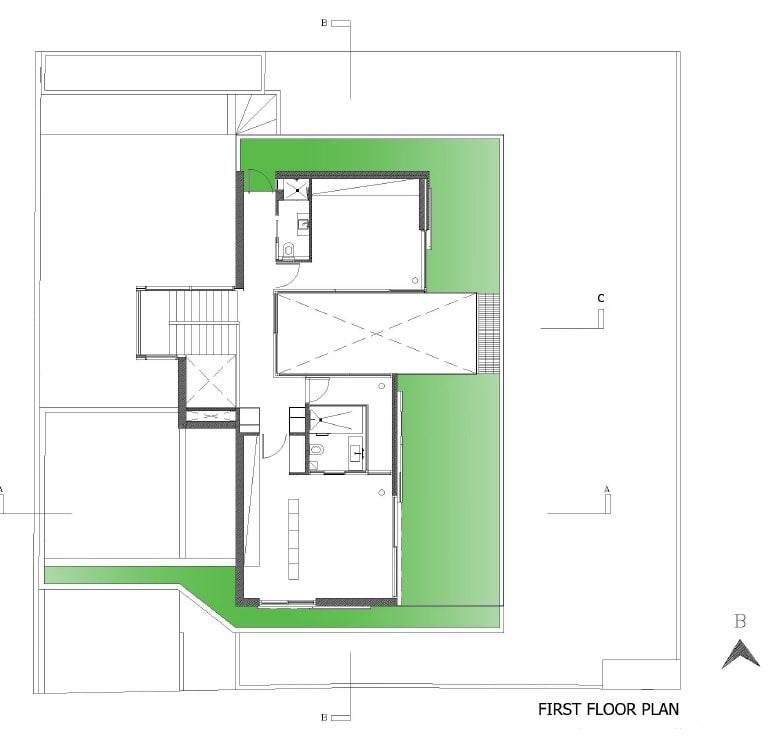 This is the floor plan for the first floor showcasing sections of the house like the stairs and living areas.