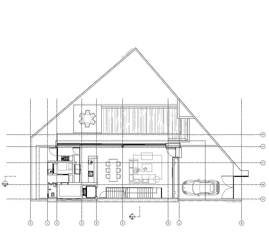 This is the first level floor plan showcasing the various sections of the house like the garage.