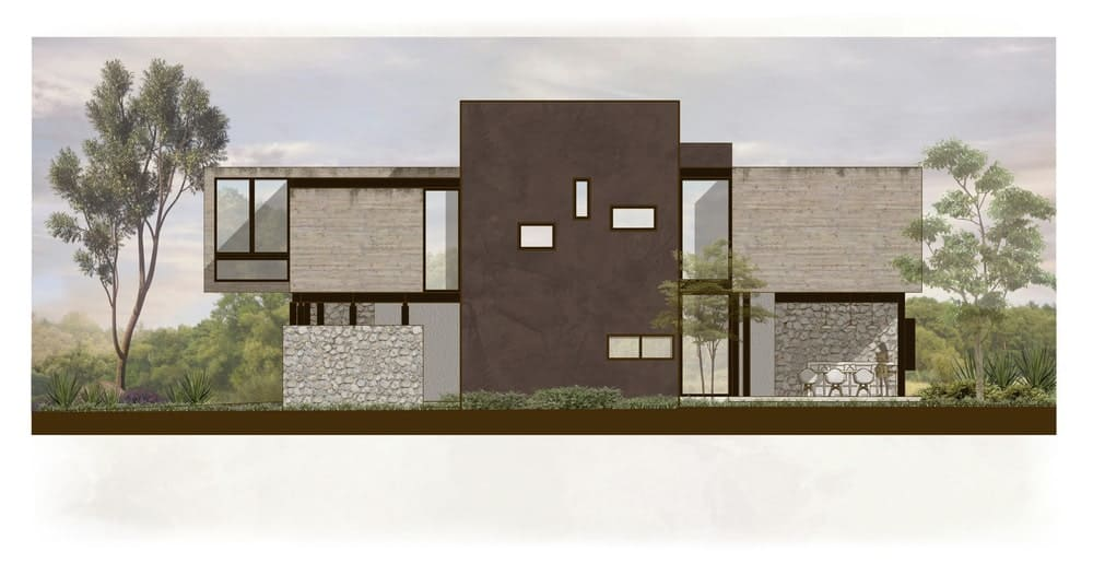 This is an illustration of the side elevation of the house with a variety of windows and large walls.