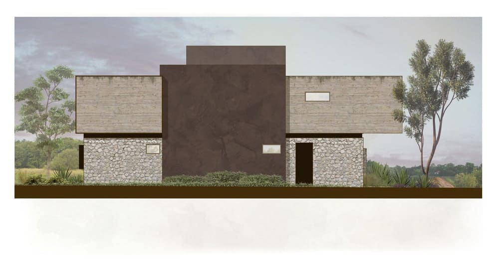 This is the illustration of the other side of the house with fewer windows and larger blocks of walls.