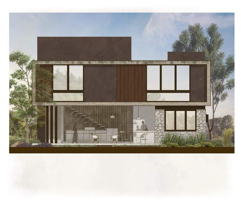 This is the illustration of the back of the house with large open walls and windows.