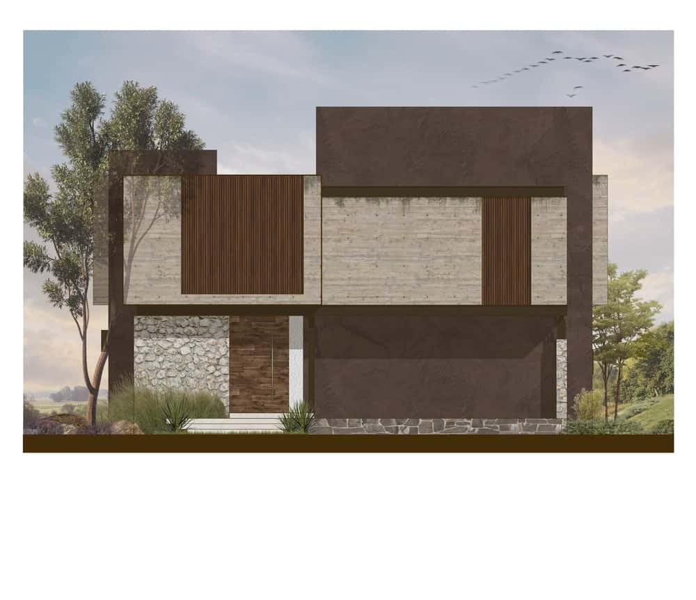 This is the front elevation illustration of the house with a alrge car port and the main entrance on its side.