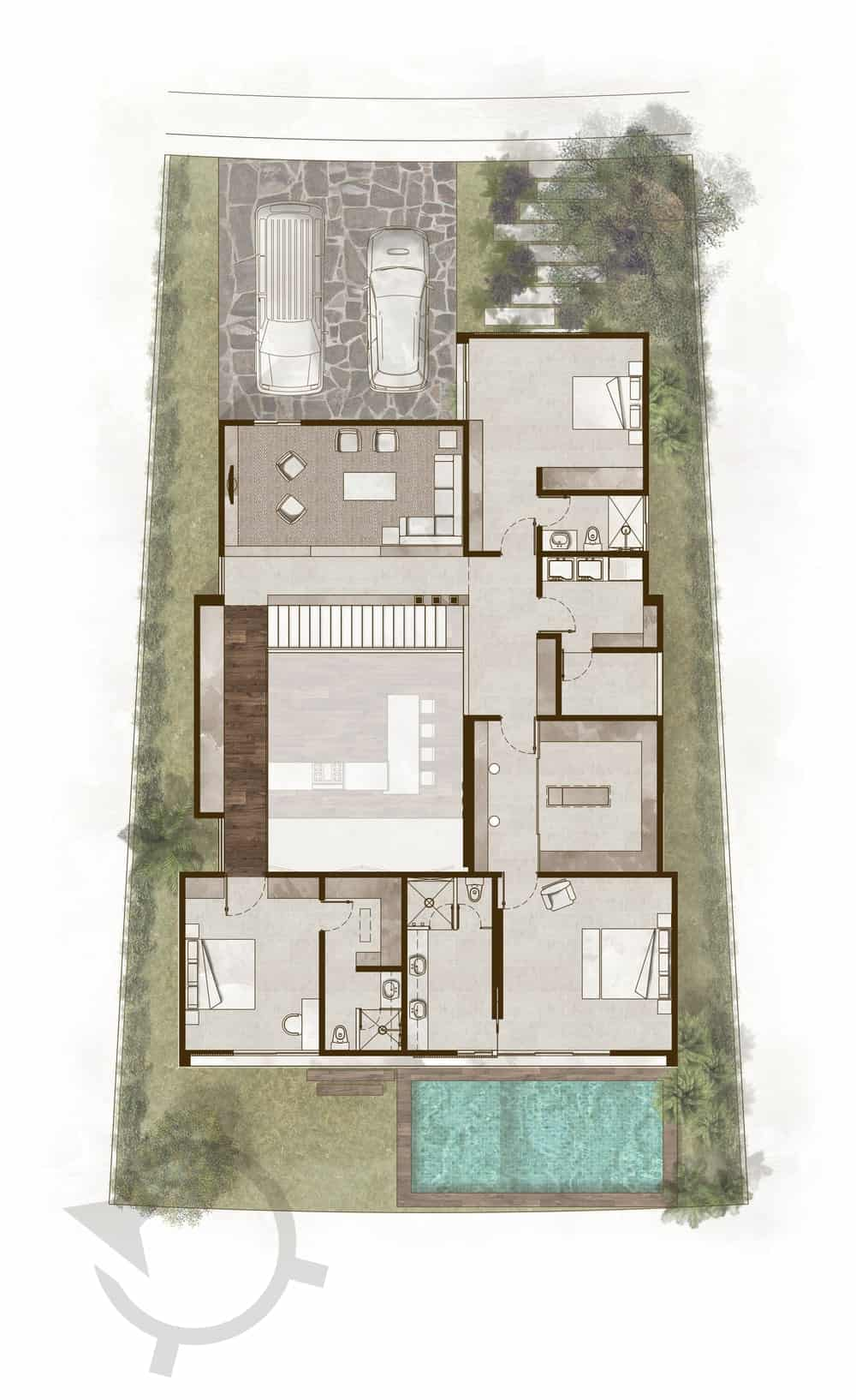 This is the illustration of the entire floor plan of the property with the second floor of the interior and the surrounding landscape.