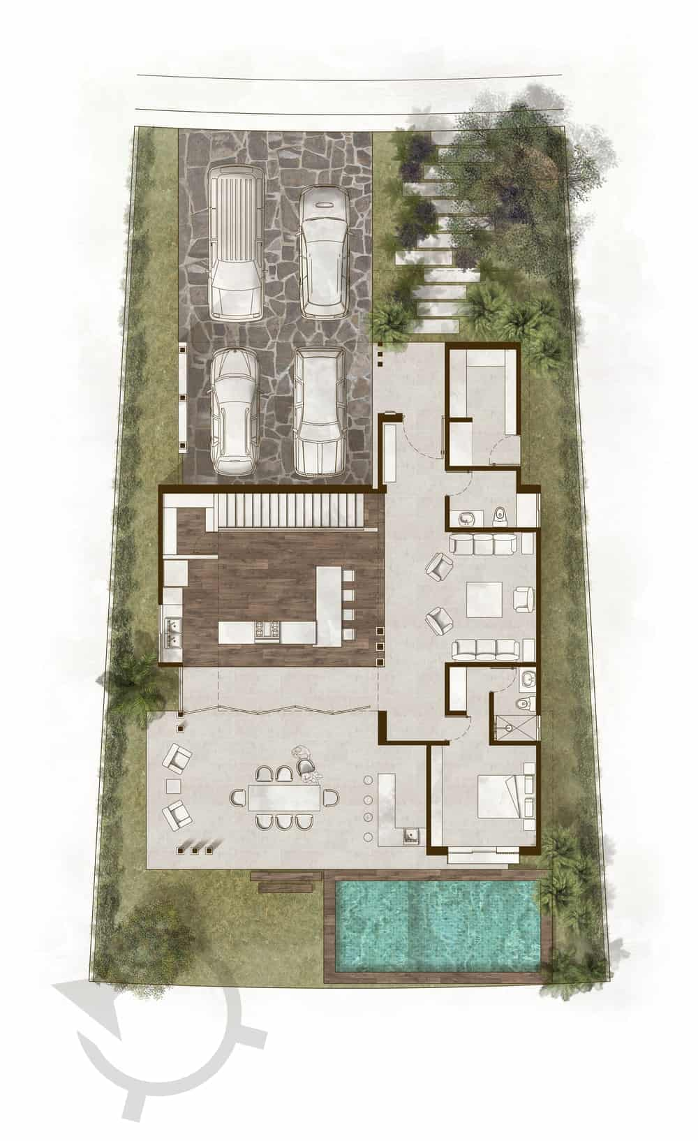 This is the illustration of the entire floor plan of the property with the first floor of the interior and the surrounding landscape.