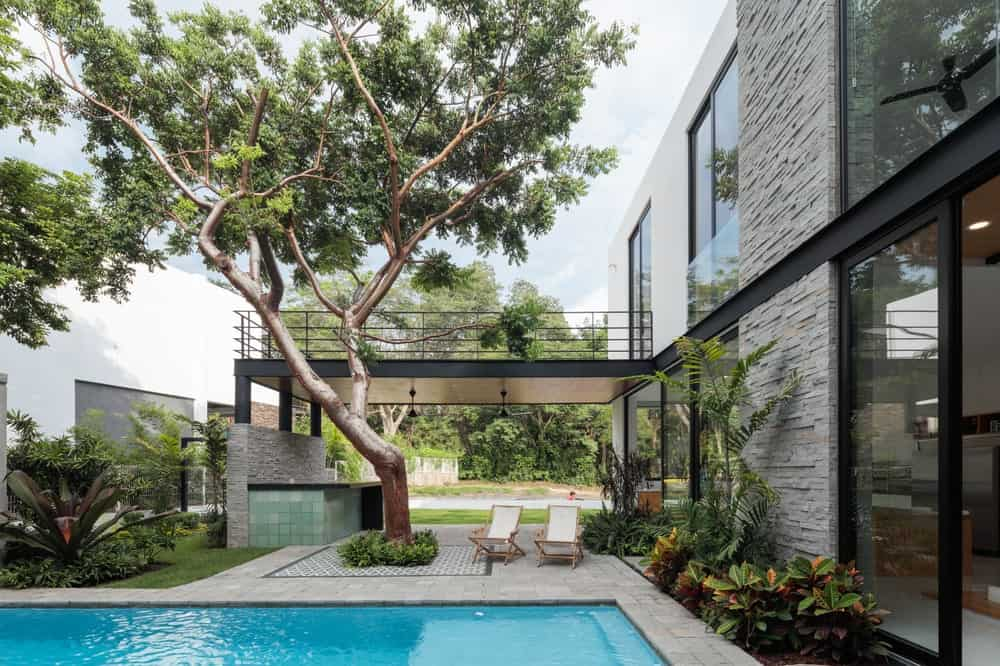 The other side of the tall tree of the balcony is the poolside area with concrete walkways adorned by the miniature garden lining the exterior walls.