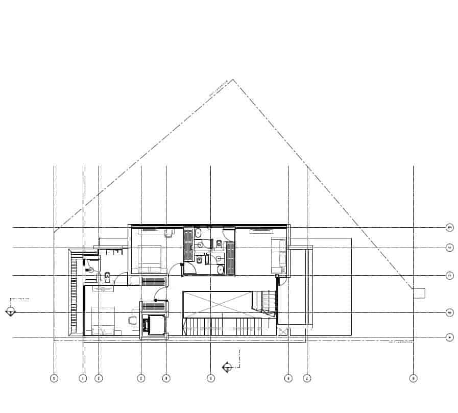 This is the second level floor plan showcasing the various sections of the house like the bedrooms.