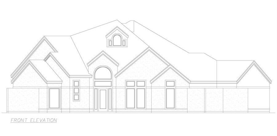 Front elevation sketch of the 3-bedroom single-story El 'Angulo European style home.