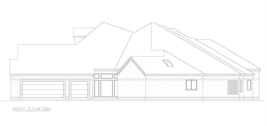 Right elevation sketch of the 3-bedroom single-story El 'Angulo European style home.
