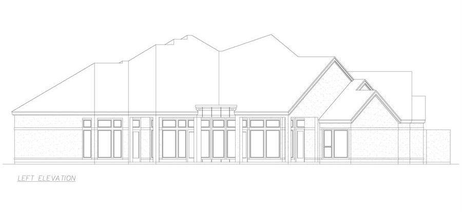 Left elevation sketch of the 3-bedroom single-story El 'Angulo European style home.