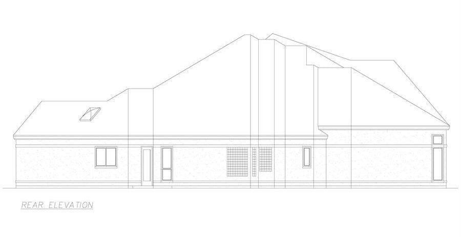 Rear elevation sketch of the 3-bedroom single-story El 'Angulo European style home.