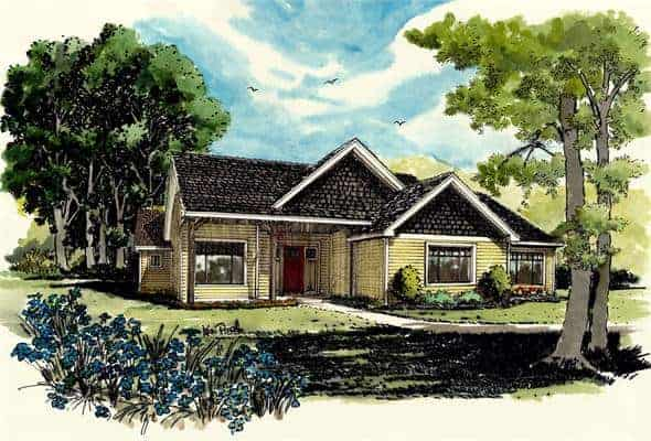 Front perspective sketch of the 3-bedroom single-story The Cherokee cabin home.
