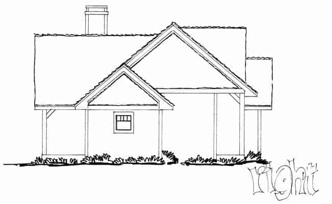 Right elevation sketch of the 3-bedroom single-story The Cherokee cabin home.