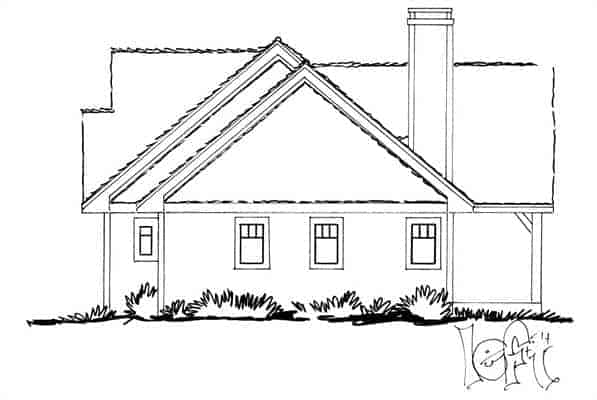 Left elevation sketch of the 3-bedroom single-story The Cherokee cabin home.