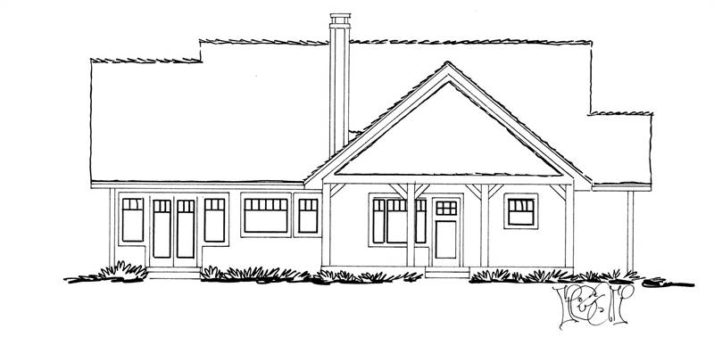 Rear elevation sketch of the 3-bedroom single-story The Cherokee cabin home.