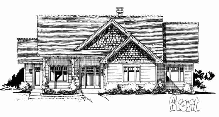 Front elevation sketch of the 3-bedroom single-story The Cherokee cabin home.