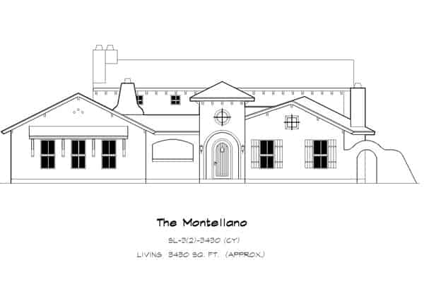 Front elevation sketch of the 3-bedroom two-story The Montellano Spanish home.