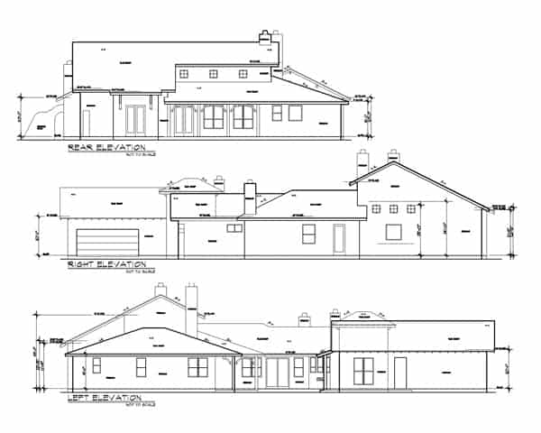 Rear, right, and left elevation sketch of the 3-bedroom two-story The Montellano Spanish home.