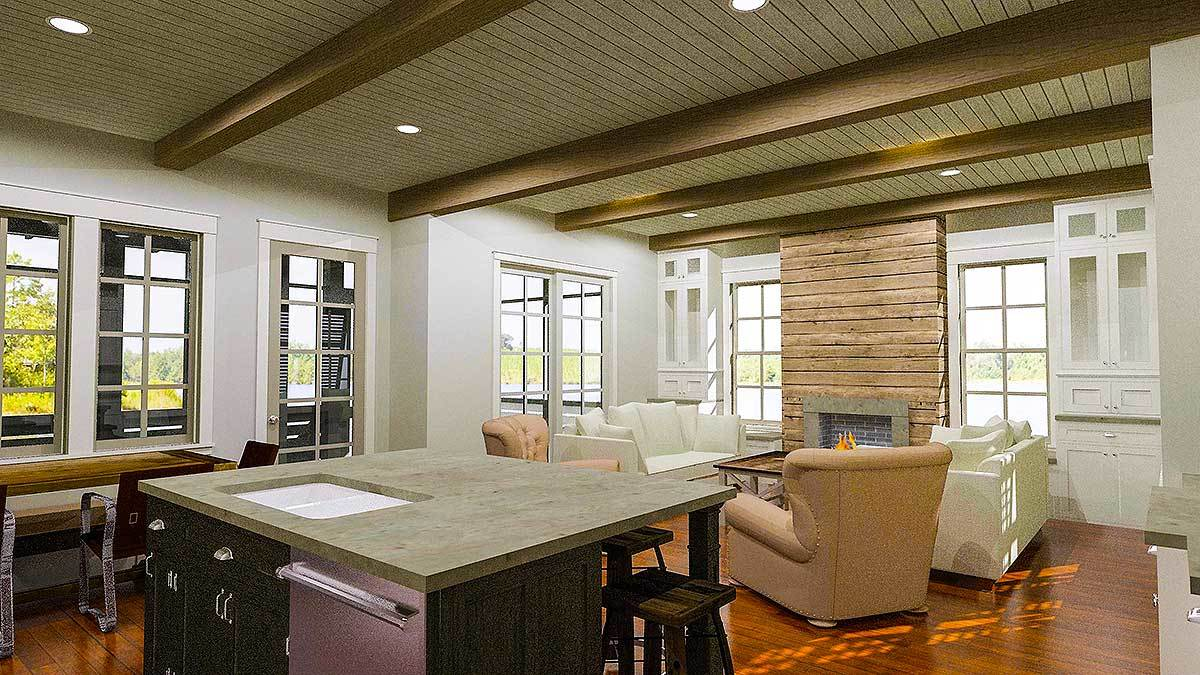 An open layout view showing the kitchen and living room topped with a beamed ceiling.