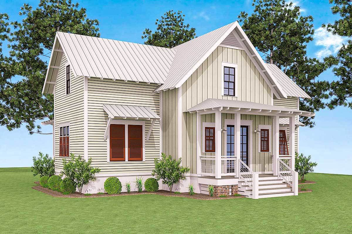 Side rendering of the 3-bedroom two-story cottage.