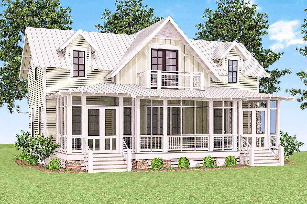 Rear rendering of the 3-bedroom two-story cottage.