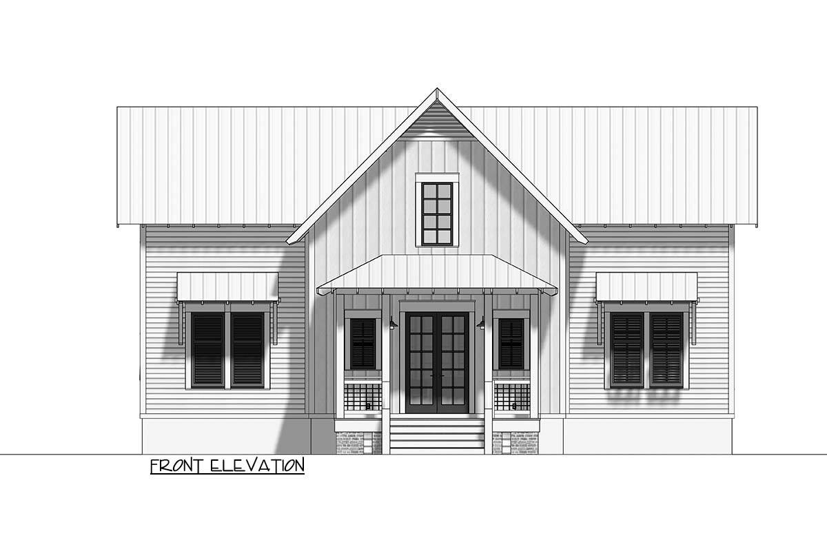 Front elevation sketch of the 3-bedroom two-story cottage.