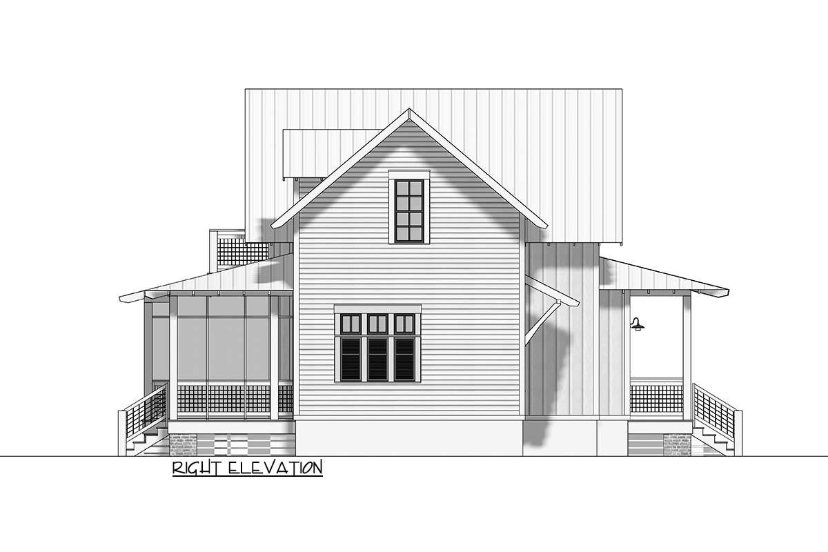 Right elevation sketch of the 3-bedroom two-story cottage.