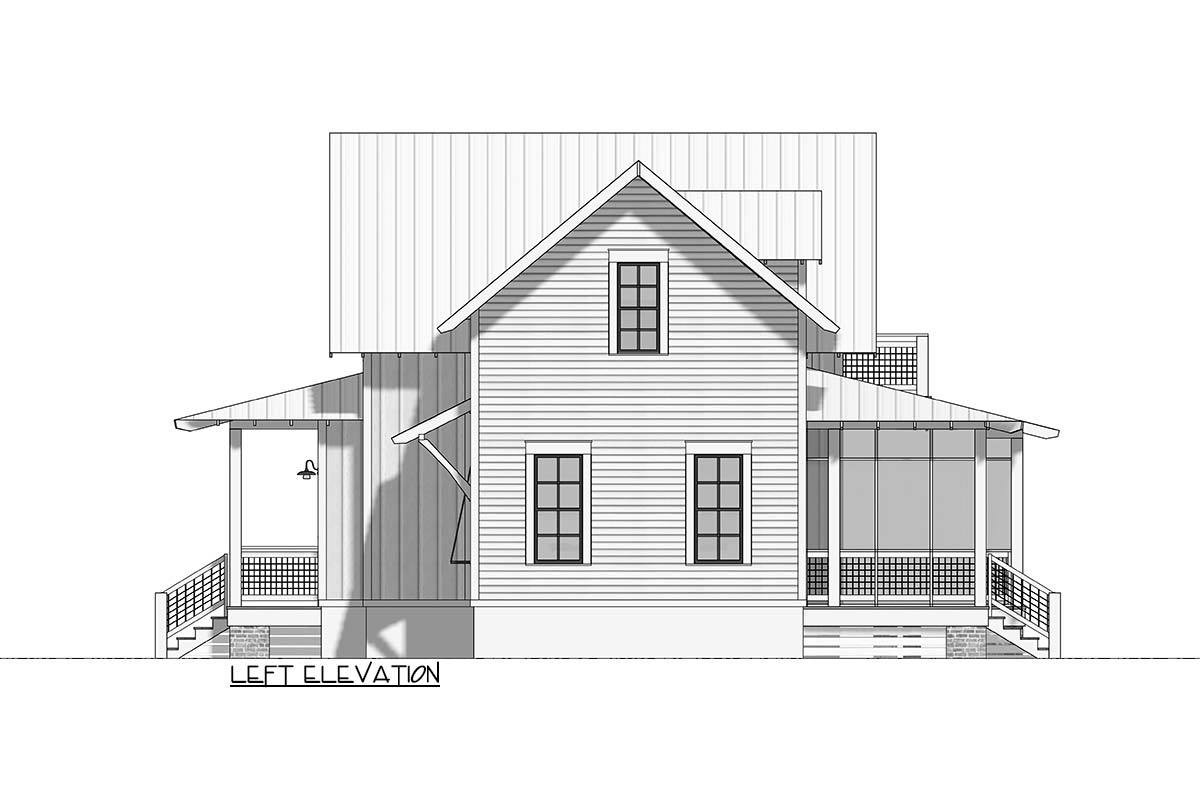 Left elevation sketch of the 3-bedroom two-story cottage.