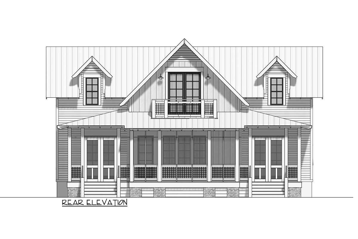Rear elevation sketch of the 3-bedroom two-story cottage.