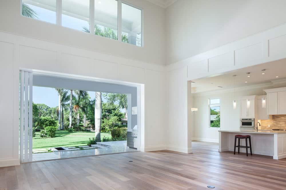Sliding glass doors on the side lead to the covered lanai.